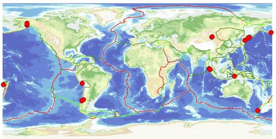 Earthquakes greater than magnitude 8.2 (red circles). These tend to cluster at plate boundary subduction zones (yellow lines). By contrast there are no great earthquakes at mid-ocean ridges (red lines) such as the Mid-Atlantic ridge.