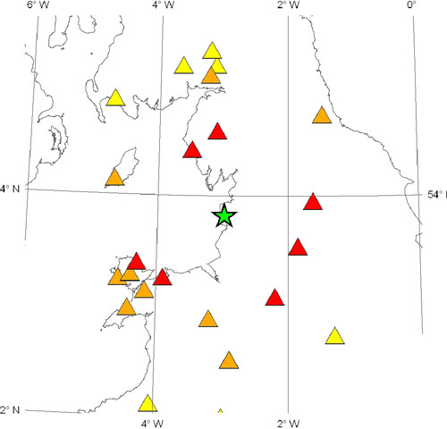 Figure 2. Stations used for locating the earthquake. Red triangles show those stations within 100 km of the epicentre. Orange triangles show stations between 100-150 km. Yellow triangles show stations greater than 150 km from the epicentre.