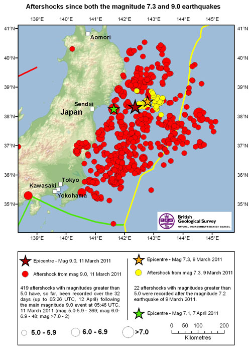 Aftershocks map. Data from USGS.