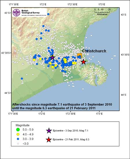 Christchurch aftershocks map pre this earthquake