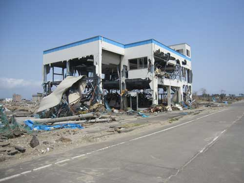 Figure 2. Tsunami-damaged building, Yuriage, Sendai Plain.
