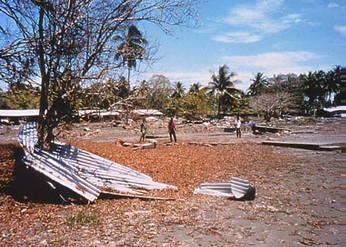 Tsunami damage; Papua New Guinea, 1998.