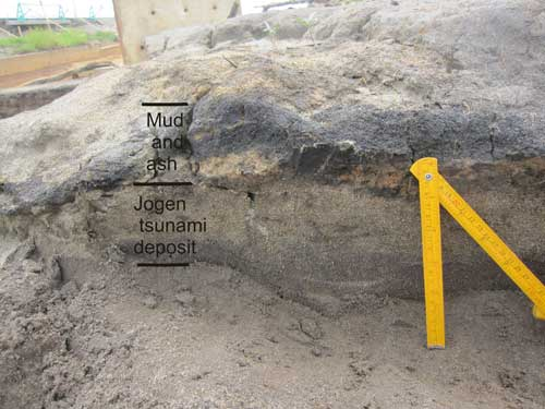 Jogan tsunami of AD 869. Sediment laid down during tsunami flooding.