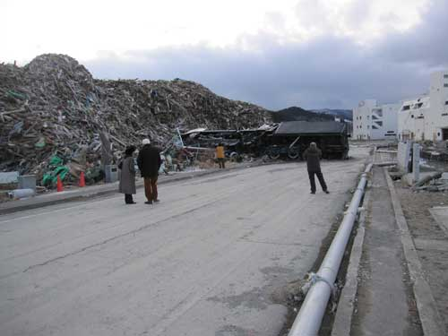 Minamisanriku, northern Honshu; debris clearing after the tsunami.