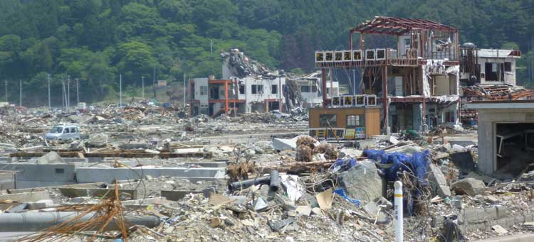 Close-up of the tsunami destruction at Minamisanriku.
