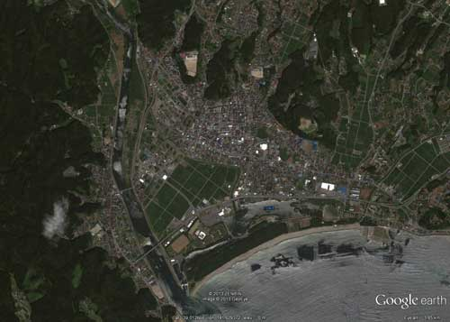Google Earth /research/images of Rikuzentakata city, before and after the tsunami.