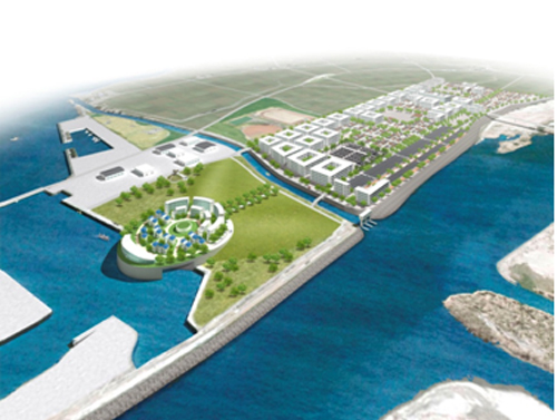 Artists impression of a possible reconstruction of Yuriage town.