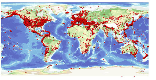 Is earthquake activity increasing british geological survey bgs world map of seismic stations bathymetry and topography us department of commerce national oceanic and atmospheric administration national geophysical gumiabroncs Gallery